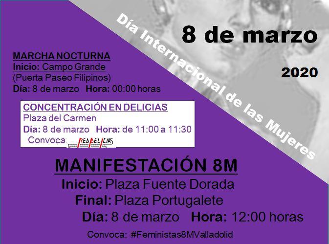 cartel de la concentración del 8M de 2020 en la Plaza del Carmen de Delicias, de 11:00 a 11:30, y de la manifestación posterior de Fuente Dorada a Plaza Portugalete