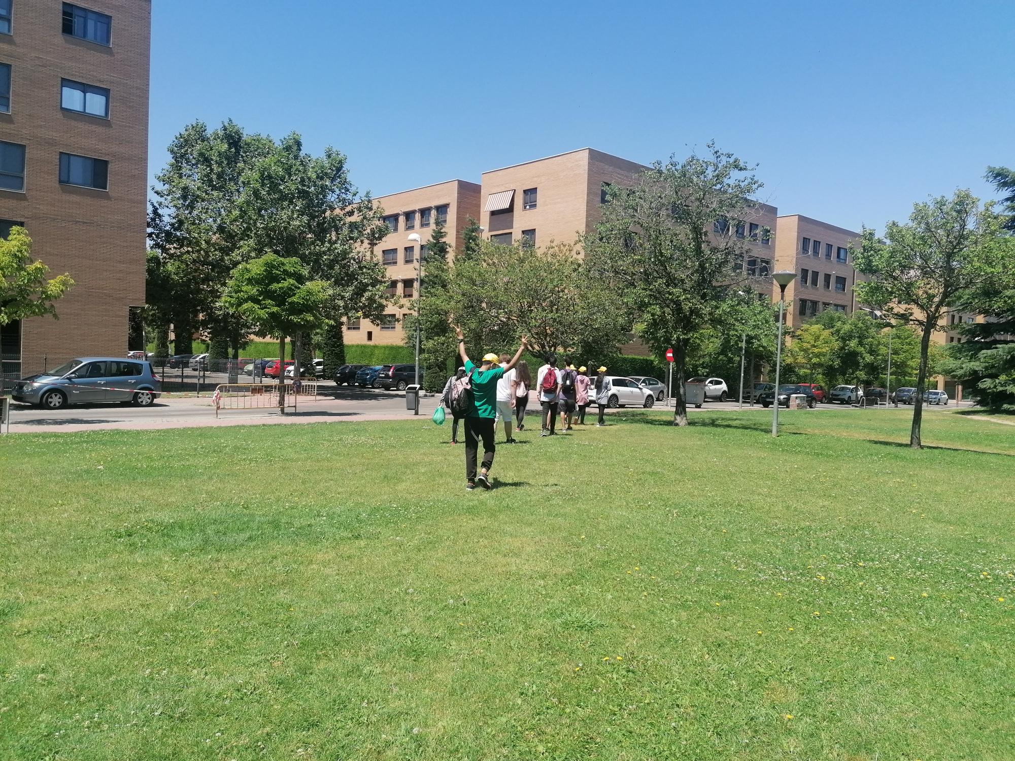 Grupo de jóvenes en una superficie de césped, alejándose, de espaldas, hacia unos edificios