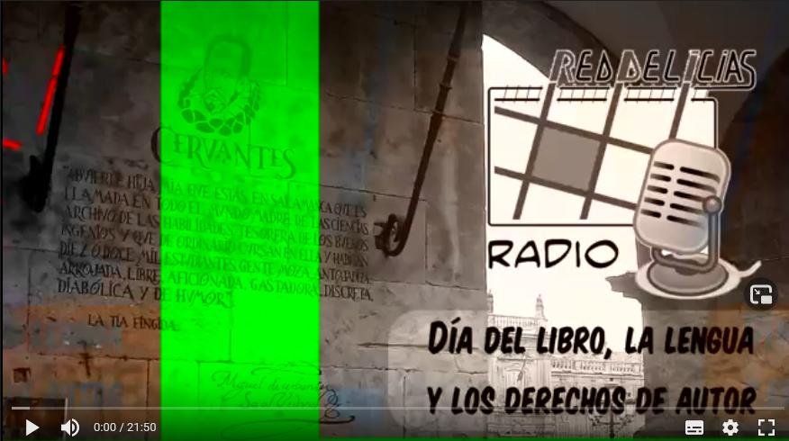 Foto de un texto de Cervantes grabado en piedra en Salamanca, con el logo de Red Delicias