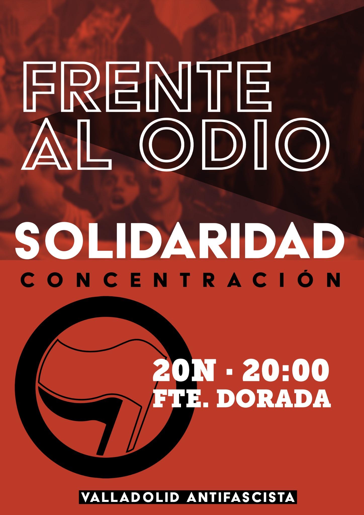 cartel de la concentración antifascista del 20N de 2019 en la plaza de Fuente Dorada a las 20:00
