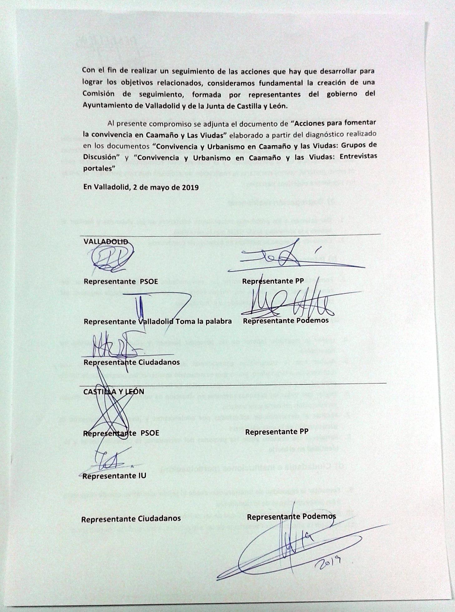 foto clase política del compromiso de los políticos con las propuestas de mejora de la zona Caamaño y Las Viudas
