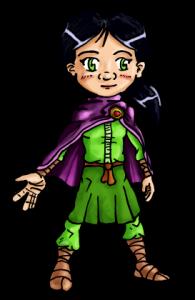 Imagen de Nessa, personaje de un cuento creado en el barrio, en el colectivo LeeLosLunes