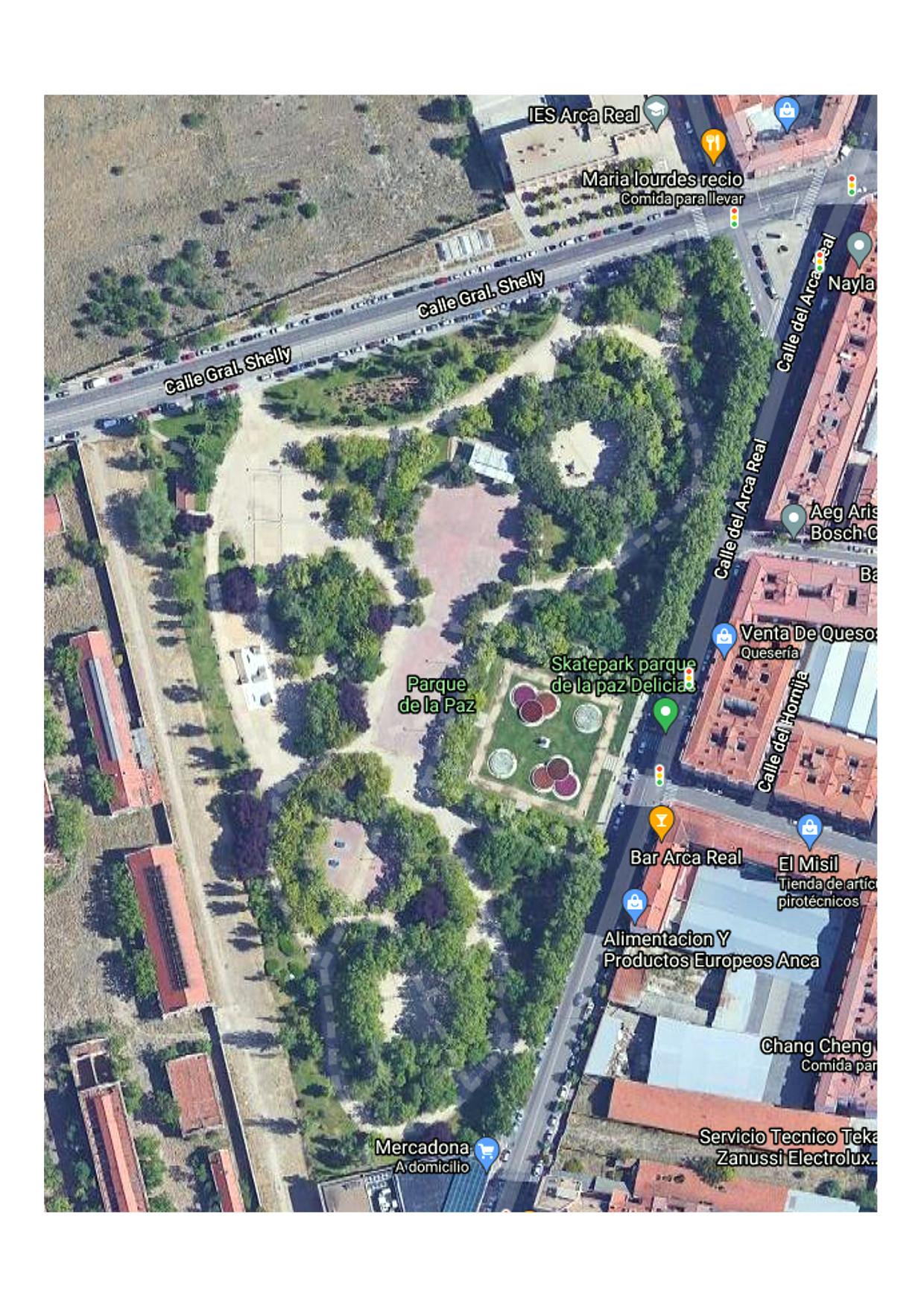 Mapa de google del parque de la paz